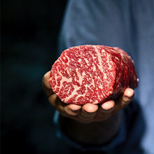 Load image into Gallery viewer, Enjoy and compare the finest Ribeye Steaks from around the world.   Miyazakigyu Japanese A5/+ Tenderloin 6oz avg  MS7+ graded Australian Wagyu Tenderloin 6oz avg  PV Umami Wagyu A4 Tenderloin 6oz avg  USDA Prime Boneless Tenderloin 8oz, crooked butcher