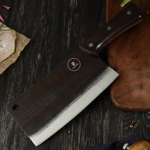 Load image into Gallery viewer, This classic High Carbon Butcher's style cleaver is big and solid knife that can chop or cut just about anything you can thow at it. It is heavy and makes cutting almost anything feel like slicing thru butter. Crooked Butcher