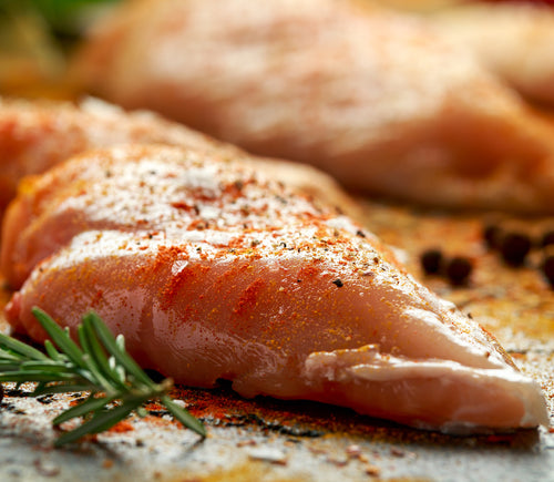 Each package of seasoned chicken breast includes 2 x 7-8oz boneless, skinless chicken breast that have been seasoned in one of Crooked Butcher's house made seasoning blends.