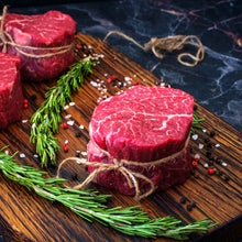 Load image into Gallery viewer, When you want the finer things in life and that lean year flavorful premium cut CB' 8oz Filet Mignon is the perfect steak for you.  Of all the beef produced in the U.S., only 2% is certified prime grade by the USDA.  Our USDA prime beef comes from the very finest corn-fed cattle the Midwest has to offer. The Crooked Butcher personally know each and every producer that we work with to ensure that you only get the highest of quality meat with the most mouth watering flavor.