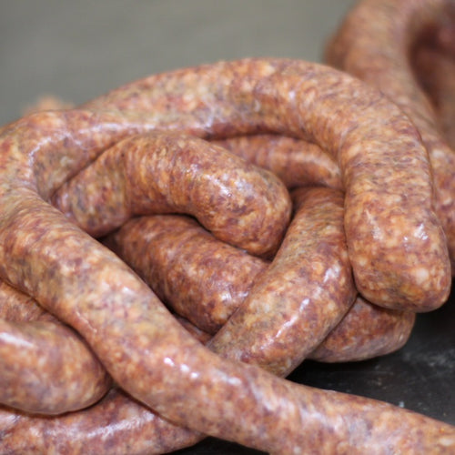 At Crooked Butcher we use our 3rd generation sausage recipe to daily grind and hand link our sausages using our high quality all natural pork and Grandma's secret seasoning blend to create mouth watering sausages. These sausages are perfect for grilling or slow cooking into your Sunday gravy.  Hot Italian Sausages are park 4 links to a package weighing 1.5lbs total.
