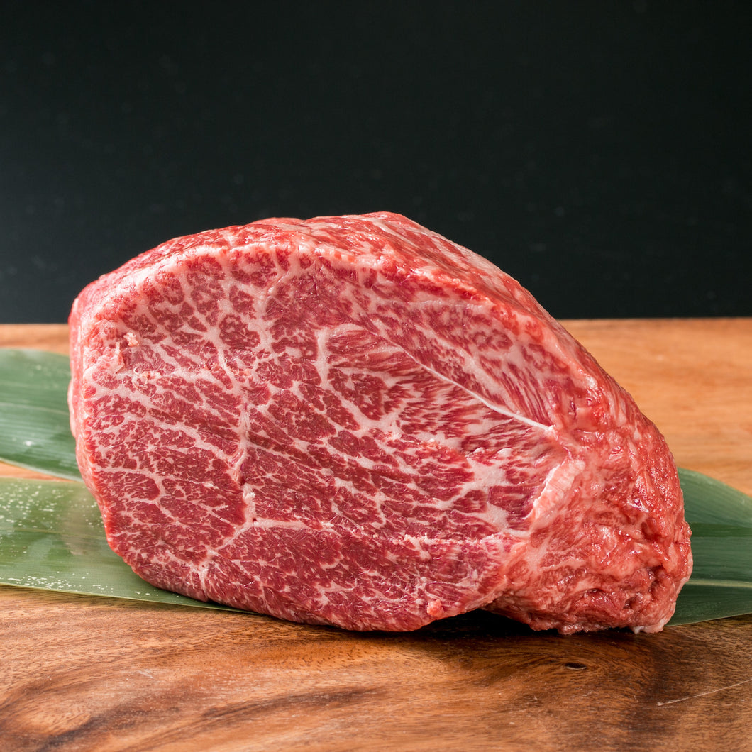 100% Full Blood Japanese Black Wagyu ground beef. This comes from a cow that is rated as an A4 grade on on the IMF scale. Our exclusive Umami Wagyu cattle that we have partnered with Prime Valley Ranch with are grain fed for 600 days and raised in the traditional Japanese method.  Our Strip Steaks are hand cut with an average weight of 6 oz per steak.