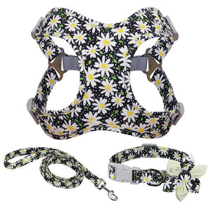 French Bulldog Harness Leash And Collar Set Printed
