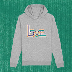 LOVE STRIPES LIGHT - UNISEX HOODIE WITH SIDE POCKETS (ORGANIC COTTON)
