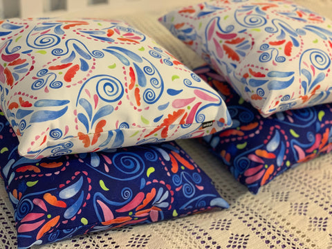 Multicolored Watercolor Paisley Florals Throw Pillow