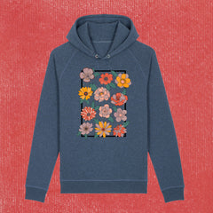 RETRO BLOOM - UNISEX HOODIE WITH SIDE POCKETS (ORGANIC COTTON)