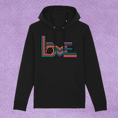 LOVE STRIPES - UNISEX HOODIE WITH FRONT POCKET (ORGANIC COTTON)