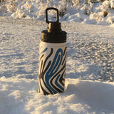 Zebra Print - Blue and Forest Green Water Bottle