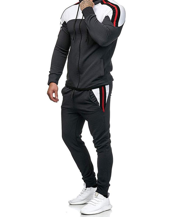 Colorblock Long Sleeve Loose Hoodies Sweatshirts Suit Sets