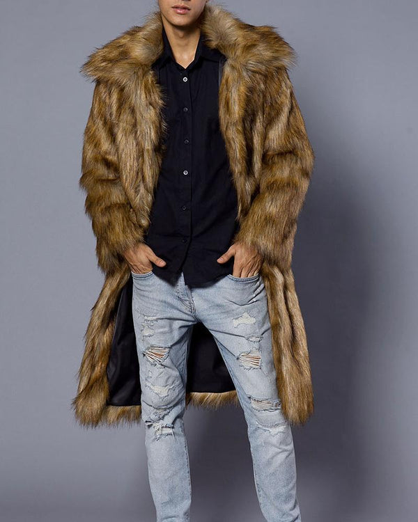 Solid Long Sleeve Faux Fur Coats