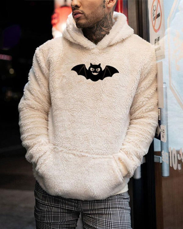Bat Print Long Sleeve Loose Hoodies Fluffy Sweatshirts