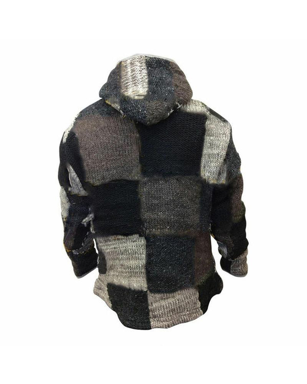 Splicing Color Block Long Sleeve Hooded Coat