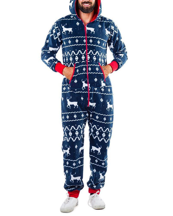 Christmas Patterns Printing Long Sleeve Hoodies Jumpsuit