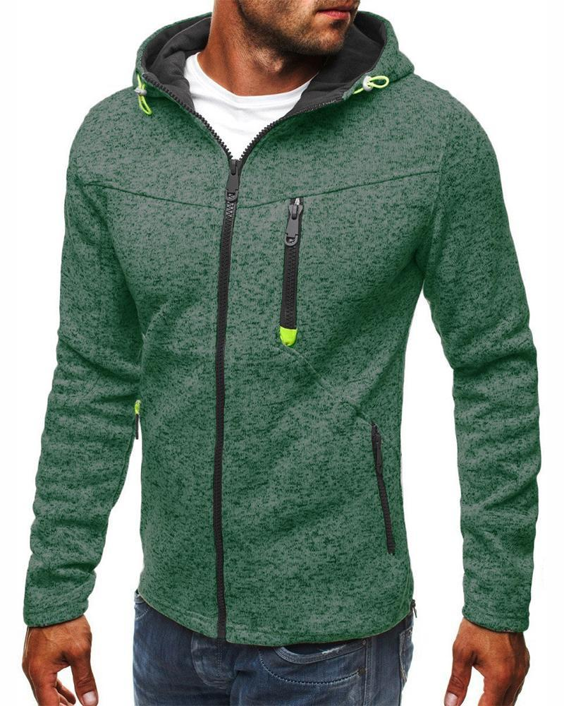 Solid Color Long Sleeve Hooded Coats