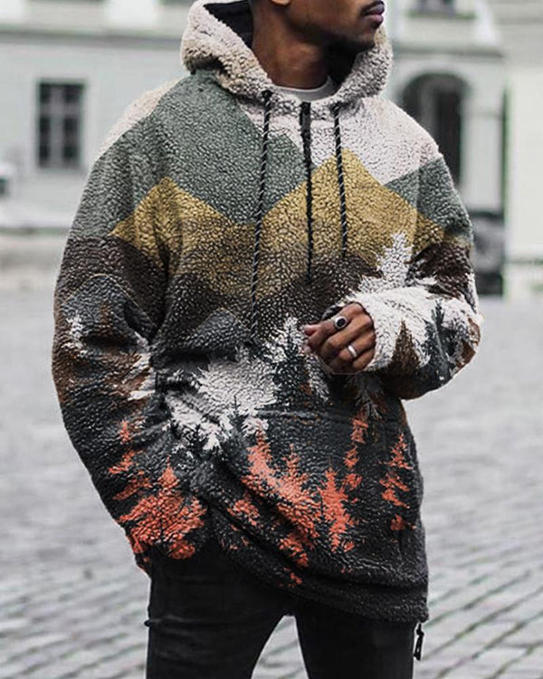 Forest Printing Long Sleeve Hooded Sweatshirt