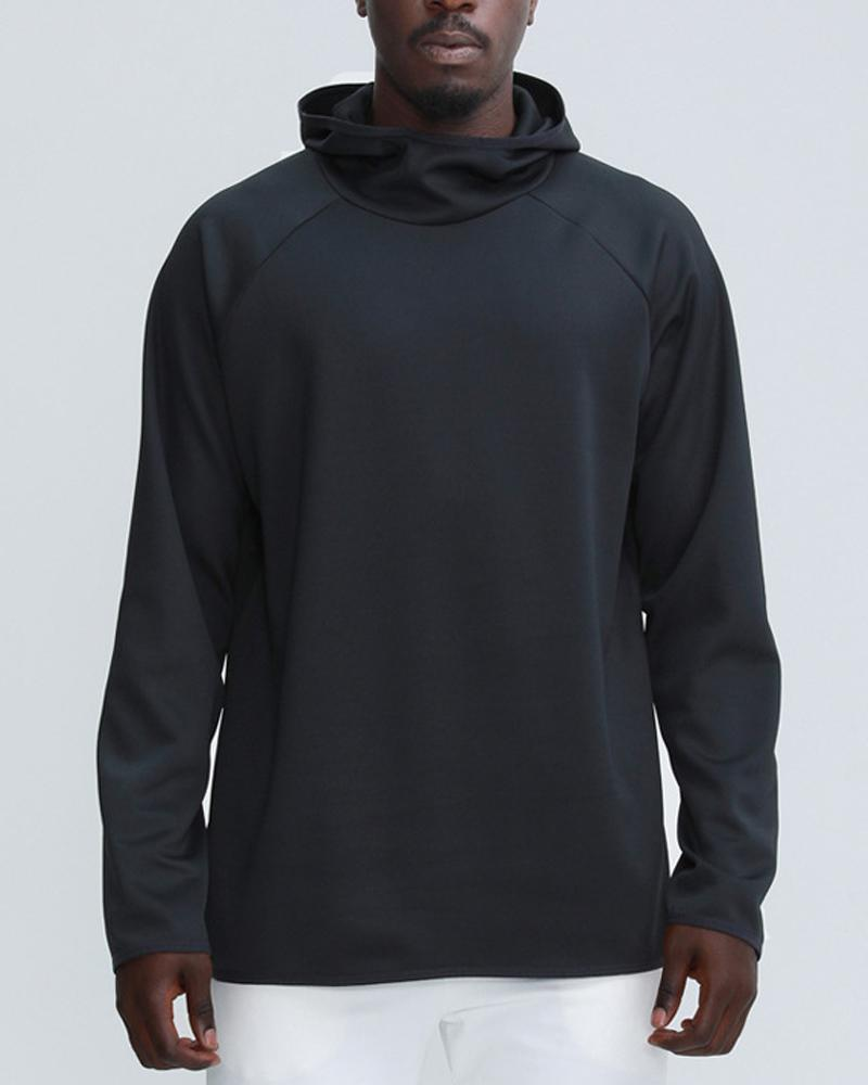 Solid Color Strip-side Long Sleeve Hooded Sports Sweatshirt