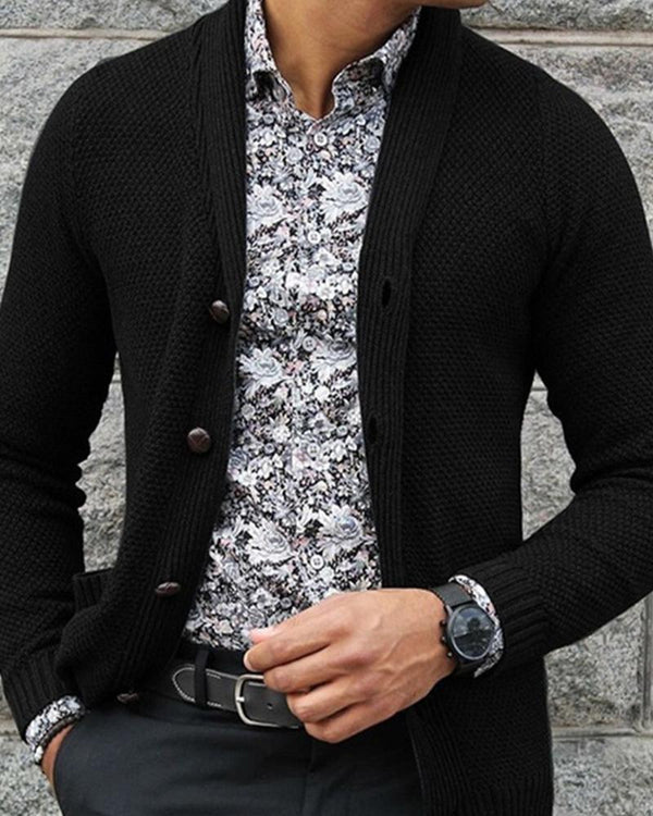 Solid Long Sleeve Knit Button-up Cardigans