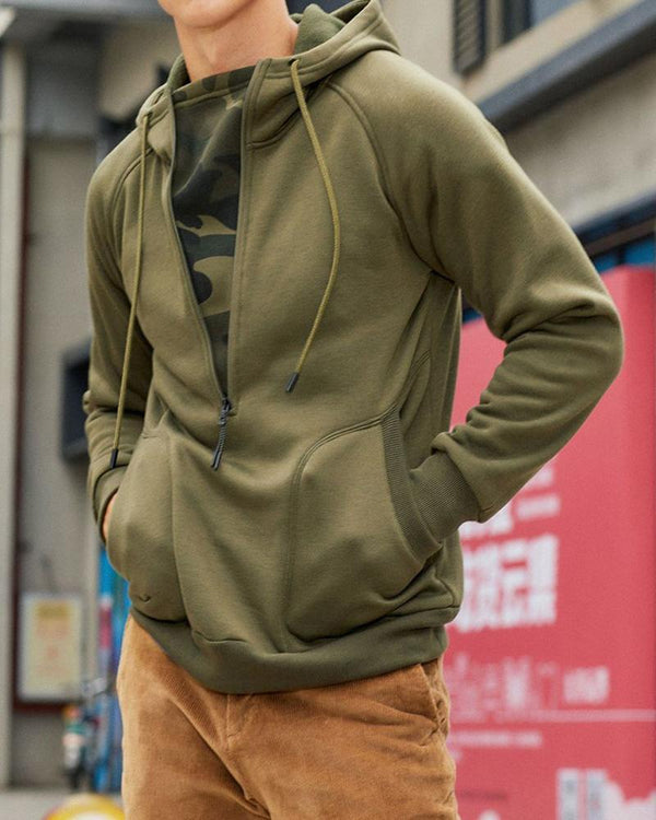 Solid Long Sleeve Loose Cargo Hoodies Sweatshirts Coats