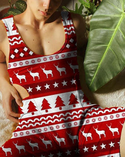 Christmas Patterns Sleeveless Skinny Cut-out Romper