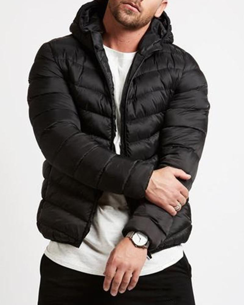 Solid Long Sleeve Quilted Coats