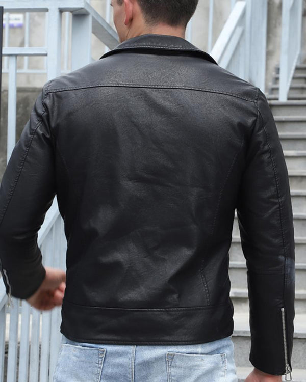 Solid Color Long Sleeve Leather Jacket