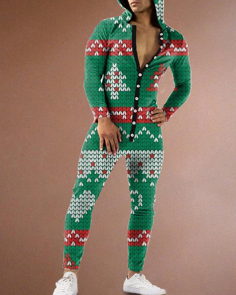 Christmas Patterns Long Sleeve Jumpsuit