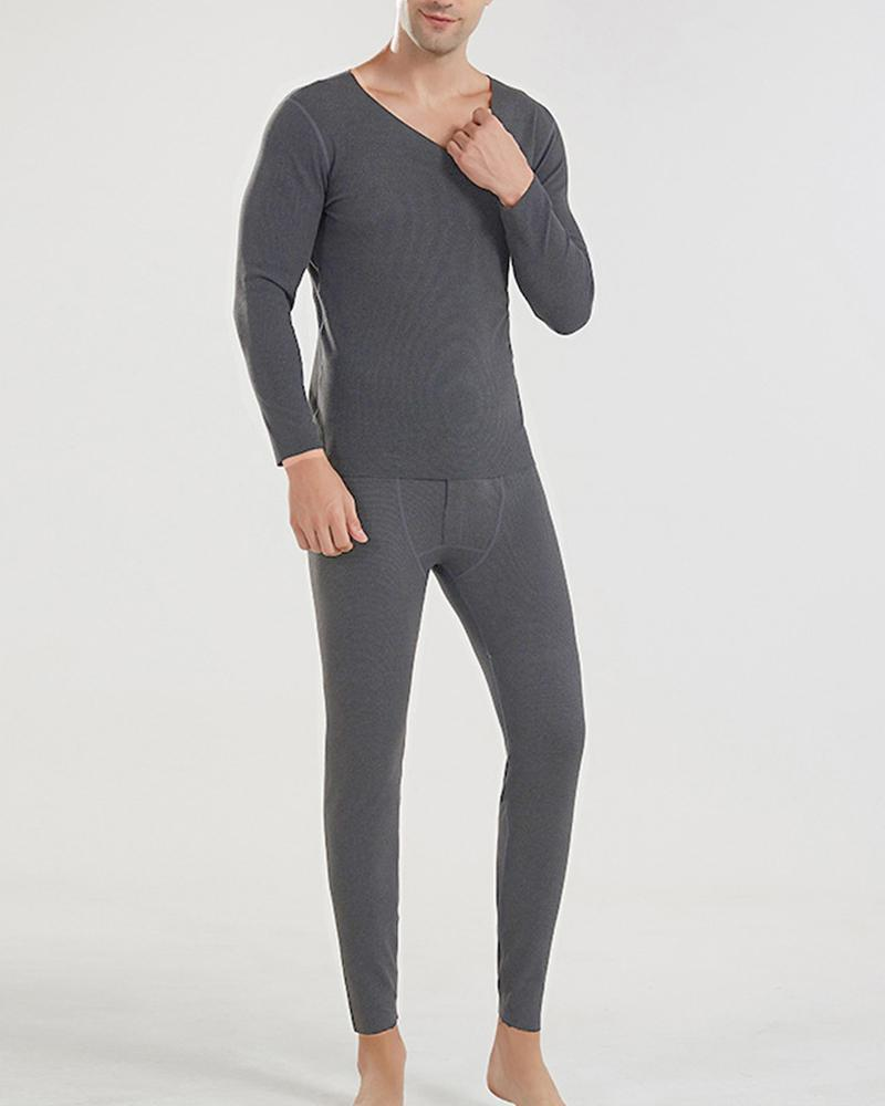 Solid Long Sleeve Skinny Fleece Suit Sets