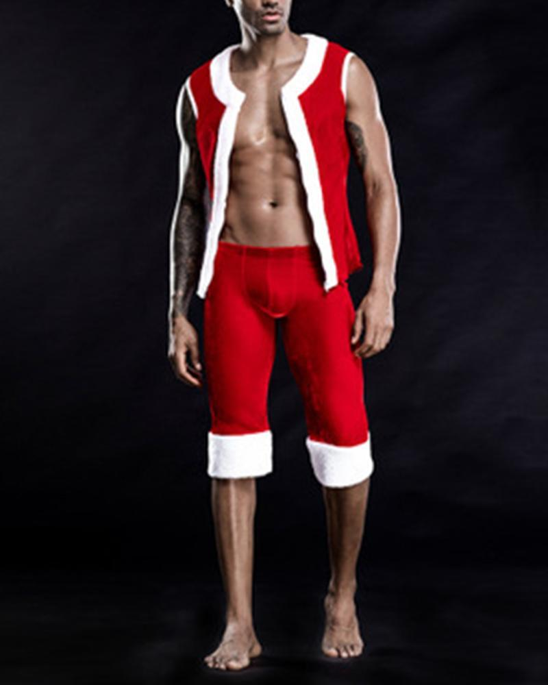 Christmas Cosplay Color Block Sleeveless Pant Sets
