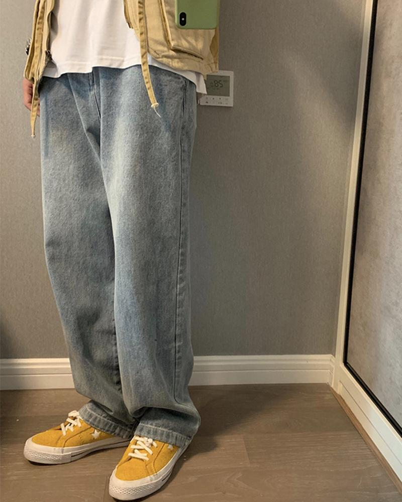 Solid Color Straight Baggy Jean Pants