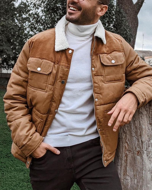 Solid Color Long Sleeve Corduroy Jacket