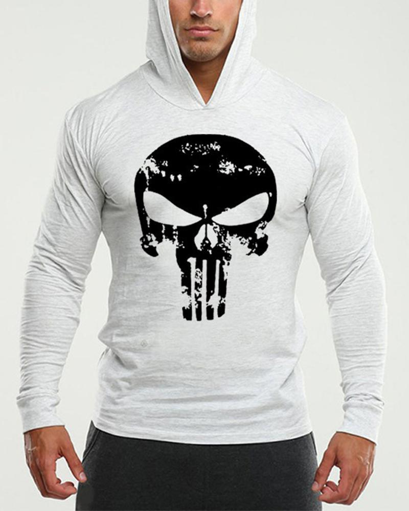 Print Long Sleeve Fitting Hooded Sweashirts