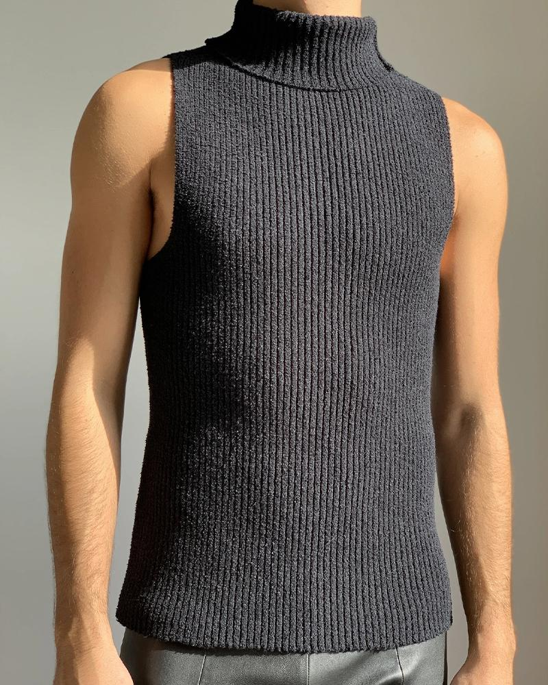 Casual Solid Color Sleeveless Skinny Sweater