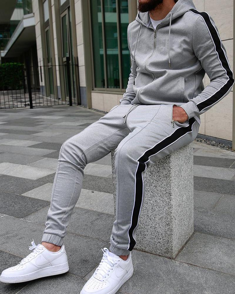 Stripe-side Long Sleeve Hoodies Coats With Pants Suit Sets