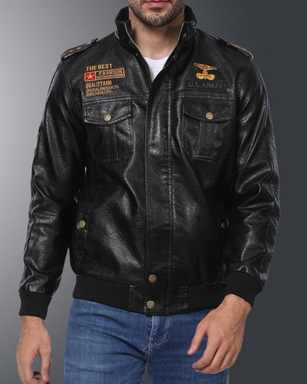 Logo Embroidery Long Sleeve Leather Jacket
