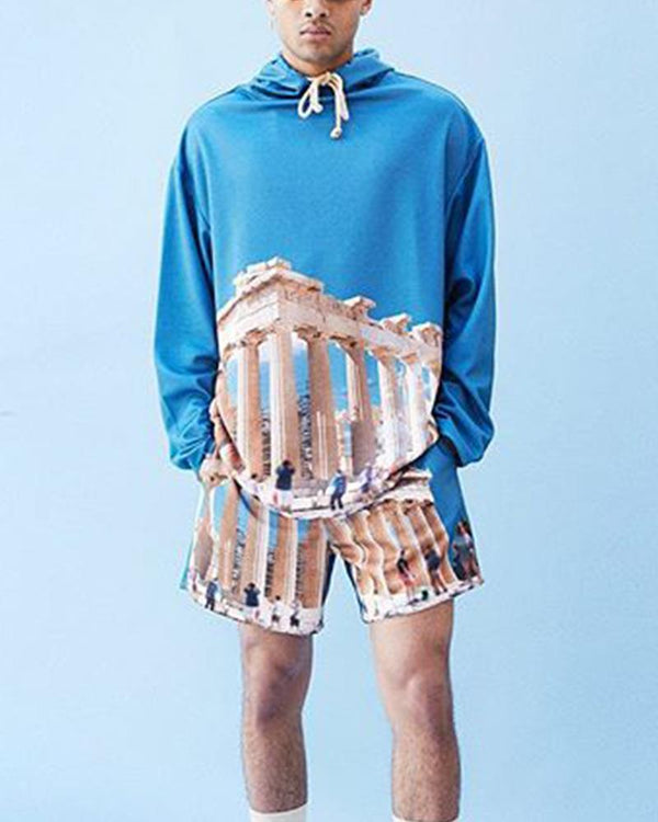 Landscape Printing Long Sleeve Sweatshirt And Short Pants Suit Sets