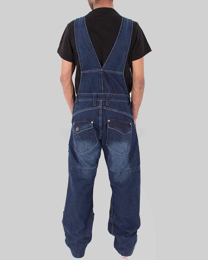 Solid Color Straight Overall Denim Jumpsuit