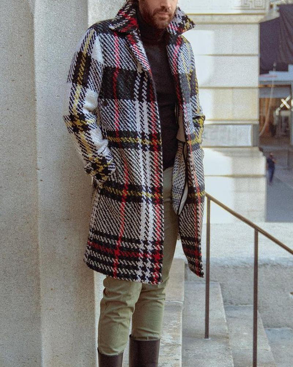 Big Plaid Long Sleeve Duffle Coats