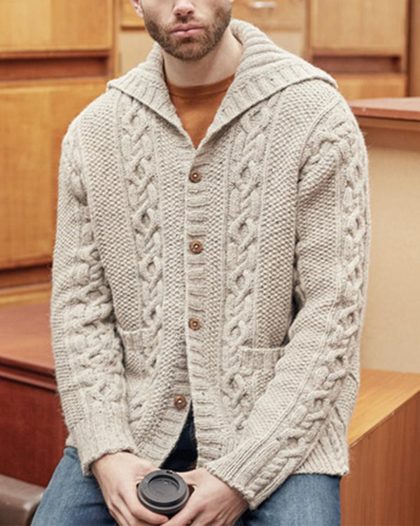 Solid Long Sleeve Button-up Knit Cardigans