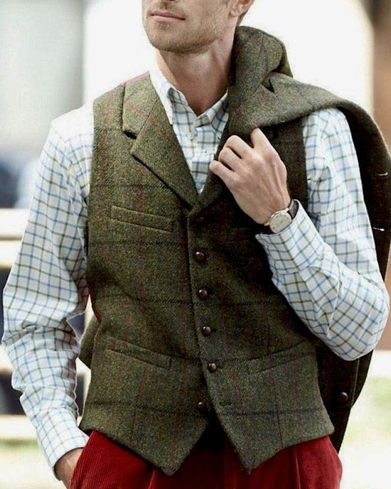 Solid Sleeveless Fitting Single-breasted Vest Coats