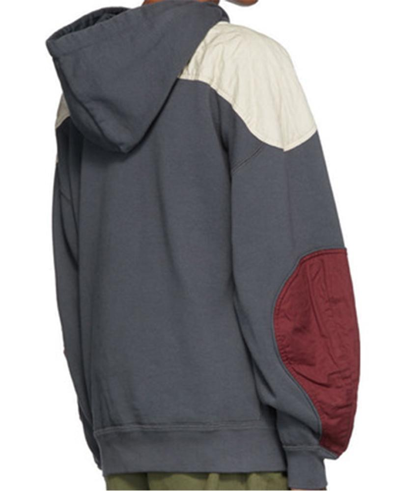Colorblock Patchwork Long Sleeve Hoodies Sweatshirt