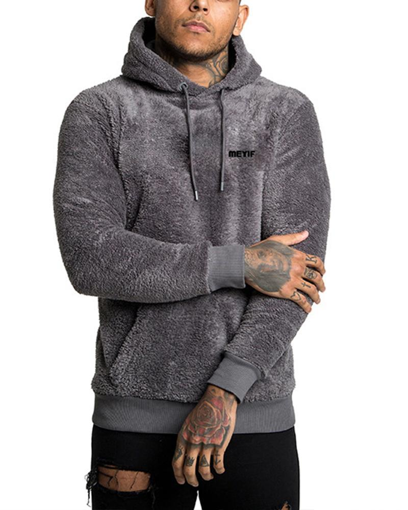 Solid Long Sleeve Fluffy Hoodies Sweatshirts