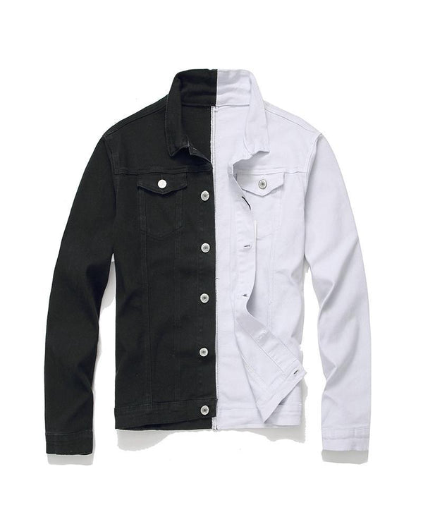 Colorblock Splicing Long Sleeve Fitting Denim Jackets