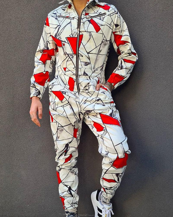Pattern Print Long Sleeve Zipper Jumpsuits