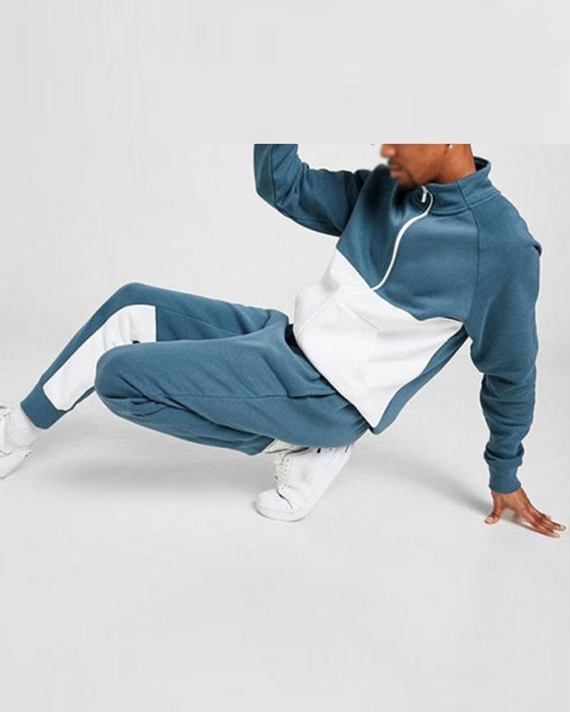 Colorblock Long Sleeve Loose Coats With Sweatpants Suit Sets