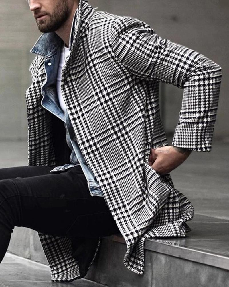 Houndstooth Printing Long Sleeve Long Coat