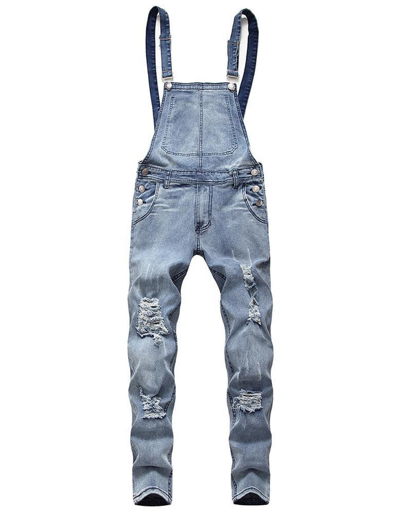 Solid Strap Ripped Denim Overall Jumpsuits