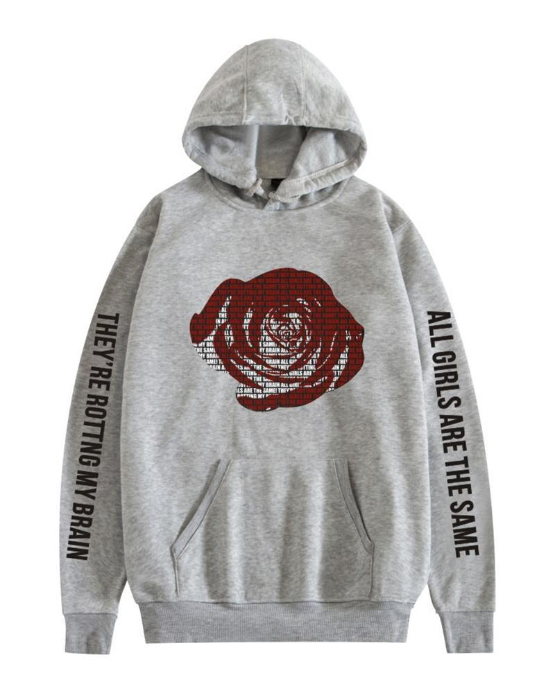 Rose Printing Long Sleeve Hooded Sweatshirt