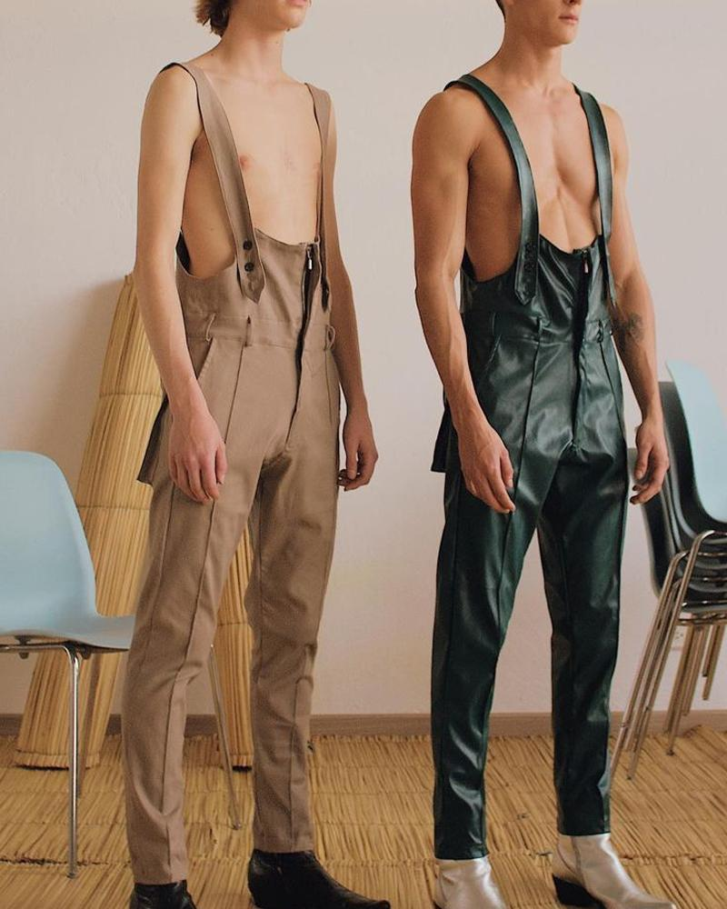 Solid Color Leather Jumpsuit Overall