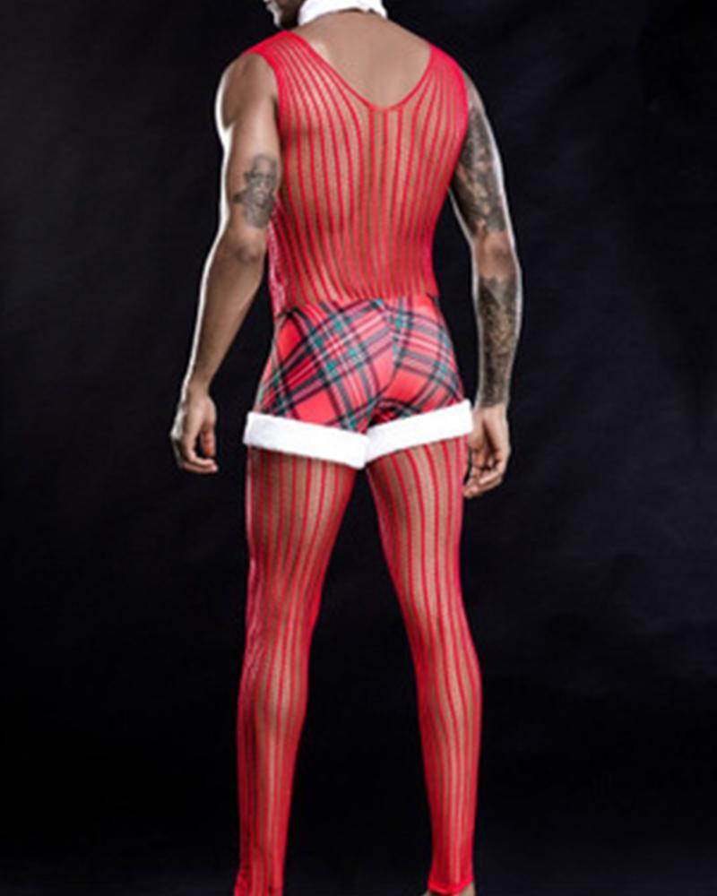 Christmas Cosplay Fishnet Plaid Jumpsuit
