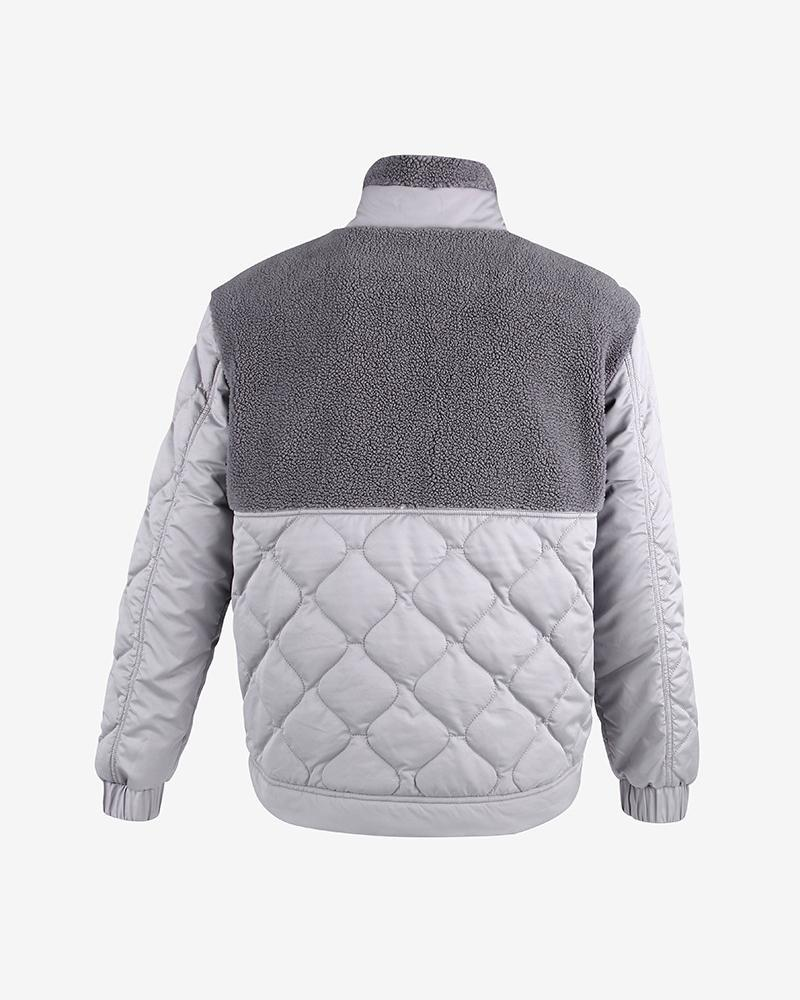 Colorblock Long Sleeve Quilted Coats